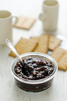 Plum jam and crackers