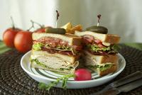 Club Sandwich Halved with Pickles and Toothpicks 22199074383| 写真素材・ストックフォト・画像・イラスト素材|アマナイメージズ