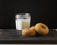 Plain Doughnuts and a Glass of Milk