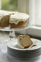 Zucchini cake with cream cheese frosting, sliced