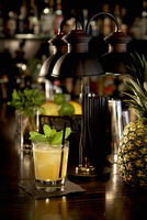White Wine Pineapple Cooler with Mint on a Bar
