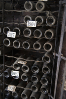 Wine sorted by ages in the wine cellar of Chateau Canon, Sai