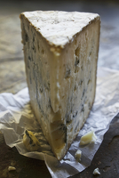 A slice of Le Berger Bleu Brebis (blue cheese, Basque Countr