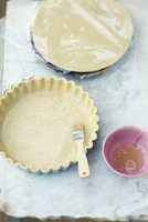 Shortcrust pastry in a tart dish