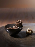 Truffle pralines with candied ginger