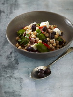 Chickpea salad with olives and feta