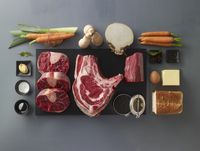Ingredients for beef stock with beef fillet