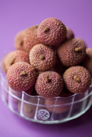 Lychees in a glass bowl