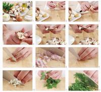 Mushrooms being prepared