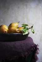 Wooden Bowl Filled with Kieffer Pears