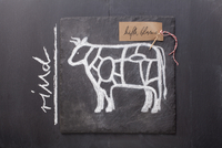A sketch of a cow depicting cuts of meat and a written label