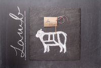 A sketch of a lamb, a label and the word 'Lamb' on a chalkbo