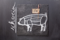 A sketch of a pig, a label and writing on a chalkboard
