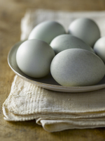 A Dish of Blue Eggs