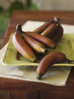 Bunches of Fresh Red Bananas