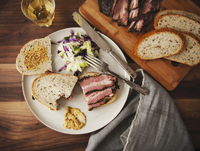 Pastrami Sandwich with Grainy Mustard and Slaw; From Above