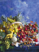 A basket of fruit and a bowl of fruit