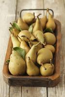 Organic pears on a wooden tray 22199075801  写真素材・ストックフォト・画像・イラスト素材 アマナイメージズ