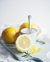 Ingredients for rosemary and lemon panna cotta