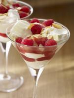 Vanilla ice cream with cream, raspberries and raspberry sauce