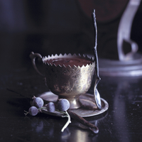 Chocolate cream in a silver tea cup