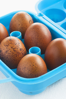 Brown eggs in a plastic container