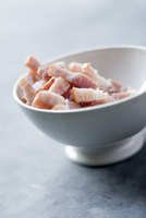 Diced bacon in a bowl