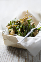 Green bean salad with capers and croutons