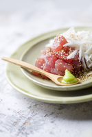Raw tuna with sesame seeds, black radish and wasabi (Japan)