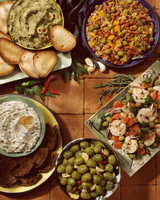 Mediterranean Buffet of Salads and Dips with Olive as Essential Ingredient 22199076870| 写真素材・ストックフォト・画像・イラスト素材|アマナイメージズ
