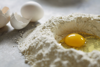 Homemade Pasta Ingredients; Egg in a Flour Well