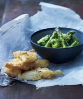 Fish tempura with green vegetables