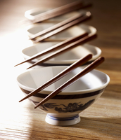 Chinese porcelain dishes with chopsticks