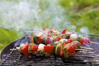 Vegetable and tofu kebabs on a rustic barbecue