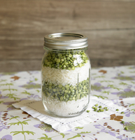 Split pea and rice soup mix in a jar