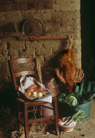 Poule au pot (chicken) ingredients - veg in bowl lying down