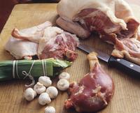 Raw turkey, mushrooms and greens