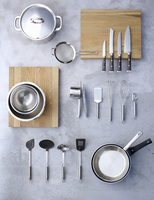 Assorted cookware, pots, pans and mixing bowls