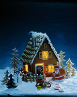 A gingerbread house with an evening mood
