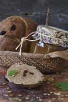 Rye Bread with Dried Cherries; Jar of Jam