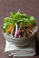 Lentil salad with smoked salmon, rocket and red onions 22199078421| 写真素材・ストックフォト・画像・イラスト素材|アマナイメージズ
