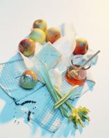 Ingredients still life featuring apples, cheese, honey and celery 22199078511| 写真素材・ストックフォト・画像・イラスト素材|アマナイメージズ