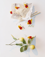 Rice, chopsticks, tulip petals and a lemon with twig