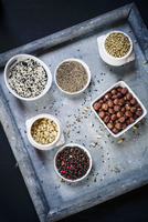 Ingredients for Egyptian dukkah spice mix with nuts 22199078657| 写真素材・ストックフォト・画像・イラスト素材|アマナイメージズ