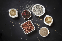 Ingredients for making an Egyptian dukkah spice mix with nuts