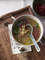 Barley soup with Grisons air-dried beef and diced vegetables 22199078693| 写真素材・ストックフォト・画像・イラスト素材|アマナイメージズ