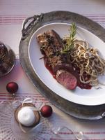Saddle of venison fillet with hazelnut SpAetzle (soft egg noodles from Swabia) for Christmas