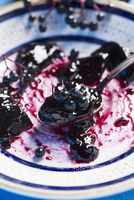 A spoon of elderberry jam and elderberries on a plate