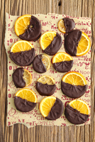 Candied orange slices dipped in chocolate, for Christmas