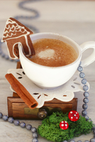 A cup of coffee with a mini gingerbread house for Christmas 22199080301| 写真素材・ストックフォト・画像・イラスト素材|アマナイメージズ